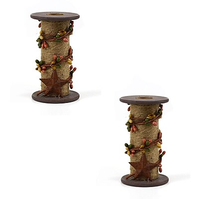 Gracie Oaks Jute and Berry Wood Candlestick