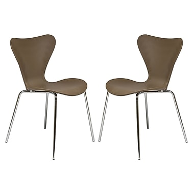 George Oliver Burghfield Modern Transparent Stacking Dining Side Chair (Set of 2) (Set of 2); Taupe