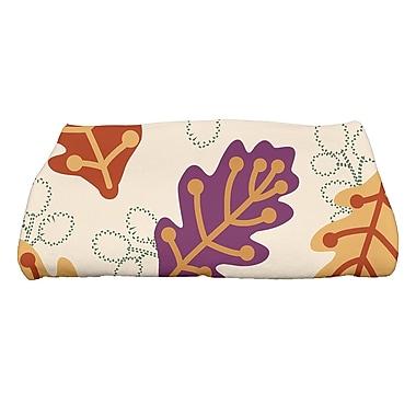 Ivy Bronx Avalos Retro Leaves Floral Print Bath Towel; Purple