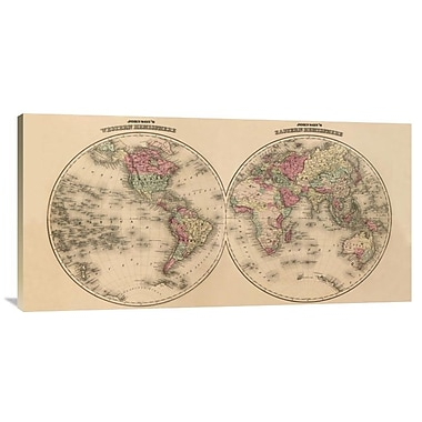 East Urban Home 'Johnson'S World Map' Watercolor Painting Print on Canvas; 18'' H x 36'' W x 1.5'' D