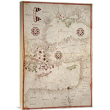 'Portolan Map of Turkey, Mediterranean, Adriatic and the Agean' Watercolor Painting Print on Canvas