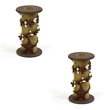 Gracie Oaks Jute and Berry Wood Candlestick (Set of 2); White / Green