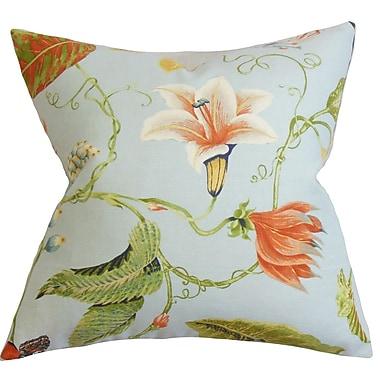 Bayou Breeze Conesville Floral Throw Pillow Cover; Light Blue