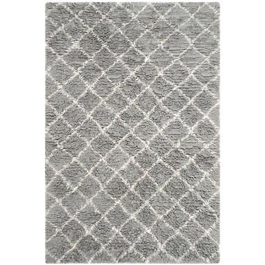 17 Stories Lurdes Hand-Woven Light Gray/Ivory Area Rug; 8' x 10'