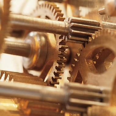 Williston Forge 'Gilded Gears II' Photographic Print on Wrapped Canvas; 18'' H x 18'' W x 1.5'' D