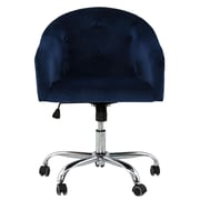 Orren Ellis Mckinley Tufted Swivel Low-Back Desk Chair; Navy