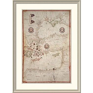 East Urban Home 'Portolan Map of Turkey, Mediterranean, Adriatic and the Agean' Framed Print