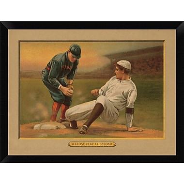 East Urban Home 'A Close Play at Second Baseball Card' Framed Graphic Art Print; 12'' H x 16'' W
