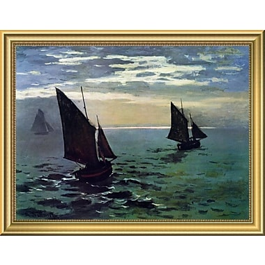 East Urban Home 'Boats Leaving the Harbor' Framed Oil Painting Print; 14'' H x 18'' W