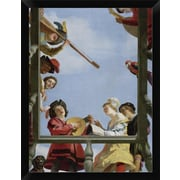 East Urban Home 'Musical Group on a Balcony' Framed Oil Painting Print; 16'' H x 12'' H