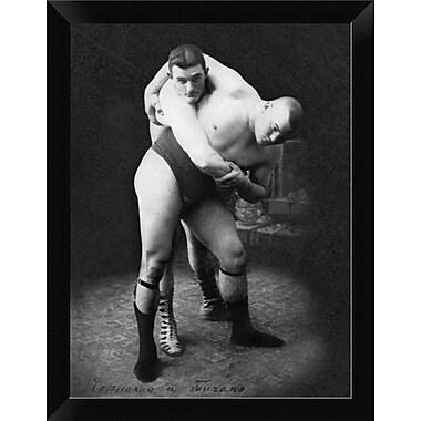 East Urban Home 'Hip Throw: Russian Wrestlers' Framed Graphic Art Print; 12'' H x 9'' W