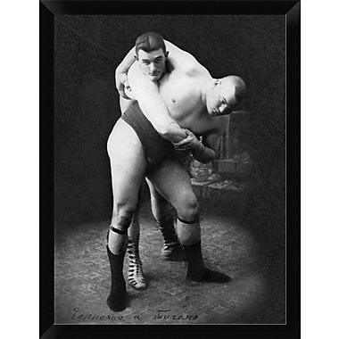 East Urban Home 'Hip Throw: Russian Wrestlers' Framed Graphic Art Print; 16'' H x 12'' W
