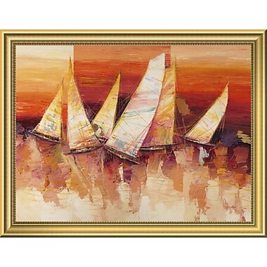 East Urban Home 'Vele all'orizzonte' Framed Oil Painting Print; 14'' H x 18'' W