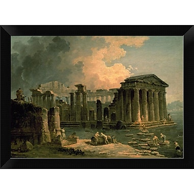 East Urban Home 'Ruins of a Doric Temple' Framed Oil Painting Print; 8.5'' H x 12'' W