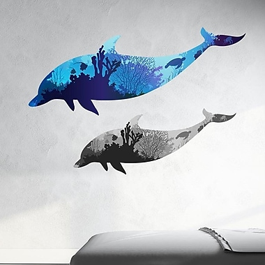 Style and Apply Coral Dolphins Wall Decal; 26'' H x 39'' W