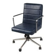 Ivy Bronx Schaefer PU Office Desk Chair; Vintage Blue