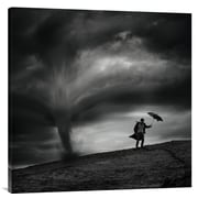 Global Gallery 'Man in the Wind' by Radovan Skohel Graphic Art on Wrapped Canvas