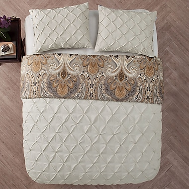 Charlton Home Lammers 3 Piece Reversible Duvet Set; Taupe