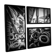 17 Stories 'Abandoned Tires' Framed Photographic Print Multi-Piece Image on Canvas in Black/Gray