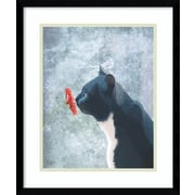 Alcott Hill 'Black Cat Sniffing Flower' Framed Painting Print