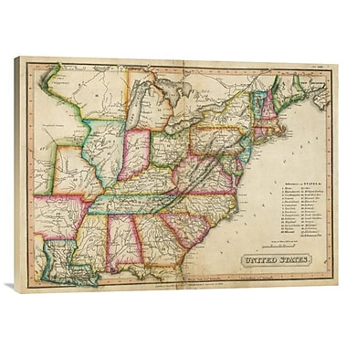 East Urban Home 'United States, 1820' Watercolor Painting Print on Canvas; 22'' H x 30'' W x 1.5'' D