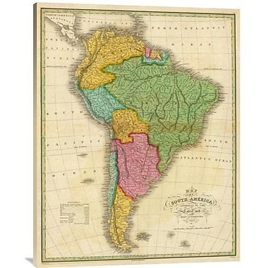 East Urban Home 'Map of South America, 1826' Watercolor Painting Print on Canvas
