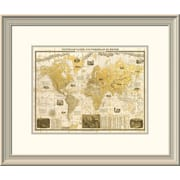 East Urban Home 'Gilded 1859 Map of the World' Framed Print; 32'' H x 40'' W x 1.5'' D