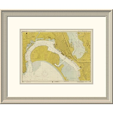 East Urban Home 'Nautical Chart - San Diego Bay Ca. 1974 - Sepia Tinted' Framed Print