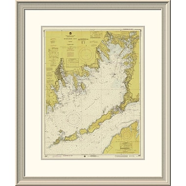 East Urban Home 'Nautical Chart - Buzzards Bay Ca. 1974 - Sepia Tinted' Framed Print