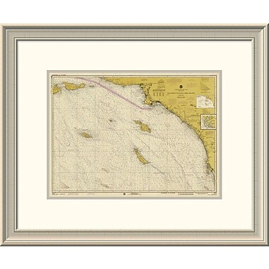 'Nautical Chart - San Diego to Santa Rosa Island Ca. 1975 - Sepia Tinted' Framed Print