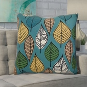 Ivy Bronx Avalos Leaves Floral Euro Pillow; Teal