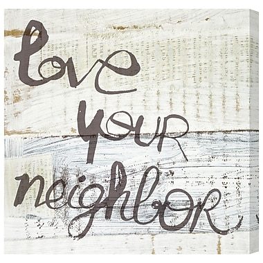 Ivy Bronx 'Love Your Neighbor' Textual Art on Canvas; 12'' H x 12'' W x 1.5'' D