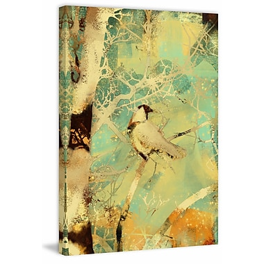 Red Barrel Studio 'Collage Bird and Birch' Painting Print on Wrapped Canvas; 24'' H x 16'' W
