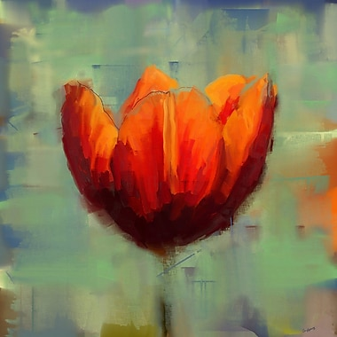 Red Barrel Studio 'Tulip in the Green' Painting Print on Wrapped Canvas; 40'' H x 40'' W