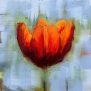 Red Barrel Studio 'Tulip in the Blue' Painting Print on Wrapped Canvas; 32'' H x 32'' W