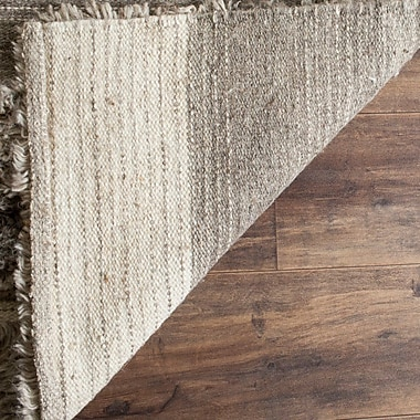 17 Stories Lurdes Hand-Knotted Ivory/Gray Area Rug; 9' x 12'