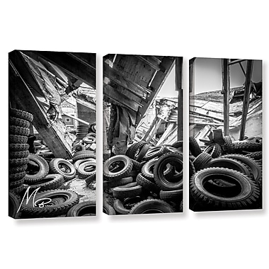 17 Stories 'Abandoned Tires' Rectangle Photographic Print Multi-Piece Image on Canvas in Black/Gray