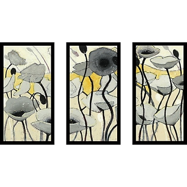 Red Barrel Studio 'Snow Day Gray Flower' Framed Acrylic Painting Print Multi-Piece Image on Glass