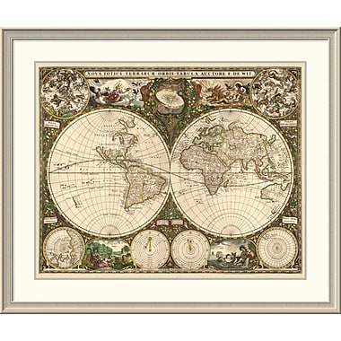 East Urban Home 'World Map' Framed Print; 37'' H x 44'' W x 1.5'' D