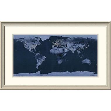 East Urban Home 'Satellite View of the World Showing Electric Lights and Usage' Framed Print