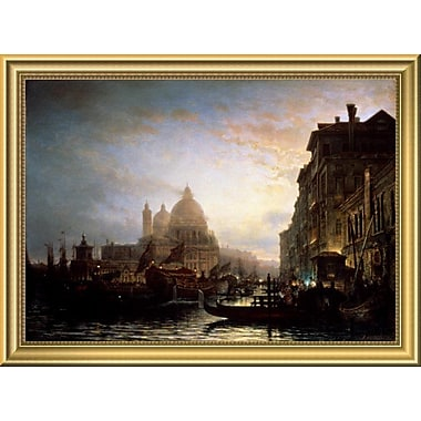 East Urban Home 'Venice at Night' Framed Oil Painting Print; 14'' H x 18'' W