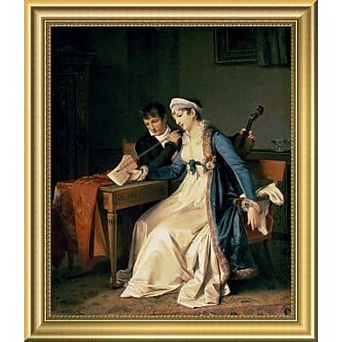 East Urban Home 'The Music Lesson' Framed Oil Painting Print; 14'' H x 12'' W