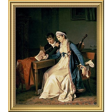 East Urban Home 'The Music Lesson' Framed Oil Painting Print; 18'' H x 14'' W