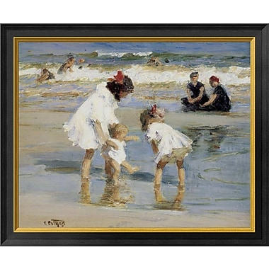 East Urban Home 'Children Playing at the Seashore' Framed Oil Painting Print; 14'' H x 18'' W