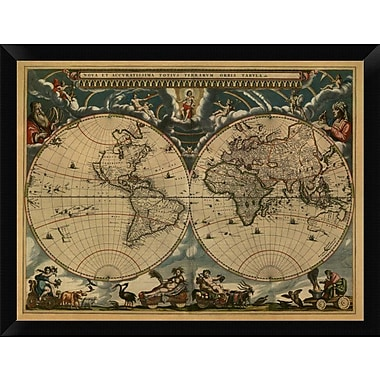 East Urban Home 'New & Accurate Map of the World' Framed Graphic Art Print; 12'' H x 16'' W
