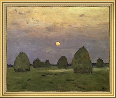 East Urban Home 'Haystacks Twilight 1899' Framed Oil Painting Print; 14'' H x 18'' W
