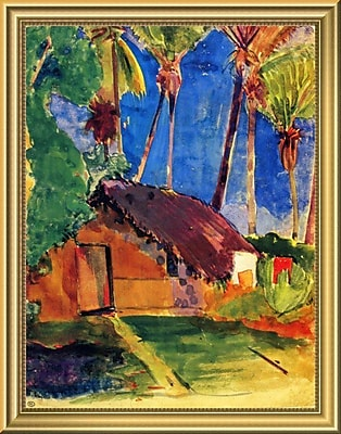 East Urban Home Wall Art-Thatched Hut Under Palm Trees; 18'' H x 14'' W