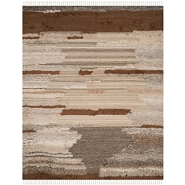 17 Stories Lurdes Hand-Knotted Gray/Brown Area Rug; 8' x 10'