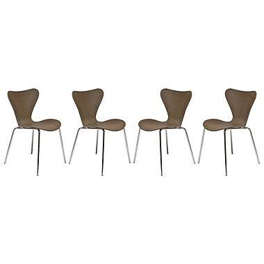 Corrigan Studio Branden Modern Transparent Stacking Dining Side Chair (Set of 4); Taupe