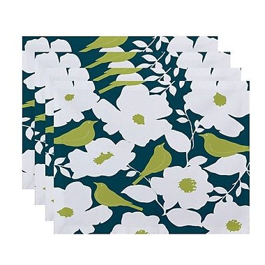 Darby Home Co Franca Modfloral Print Placemat (Set of 4); Teal